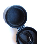 Kalt Hard Black Leather Snap Camera Lens Case With Strap And Cushion Foam