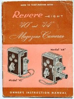 Original Instruction Manual Book for Revere Eight 8mm model 40 and 44 Movie Camera